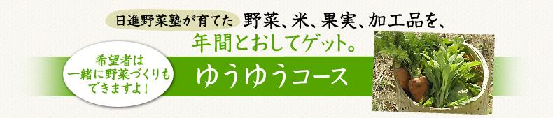 名古屋近郊で育てた有機野菜、米、果実、加工品を年間とおして購入できる「ゆうゆうコース」