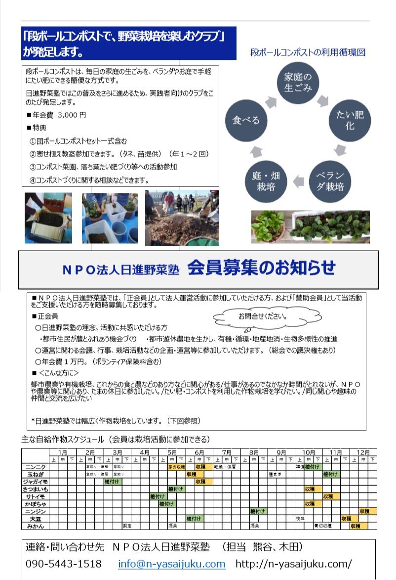 2020日進野菜塾ニュース ②(コース案内 1月9日作成)